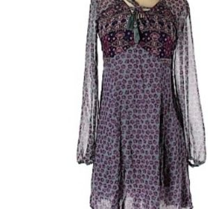 Long sleeve purple teal paisley boho dress medium